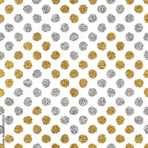 Seamless pattern of gold glitter and silver chevron of circle, hand drawn background of golden and silvern zig zag, vector pattern for wedding invitation, card, holiday, wrapping, textile, web design - 130389222
