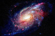 Spiral galaxy and nebula. Elements of this Image Furnished by NASA