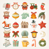 Colorful Flat Stickers And Icons Christmas Decorations And Christmas Tree Balls And Toys Wall Sticker
