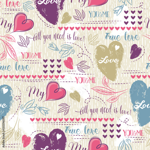 Cotton fabric Color background with  red  and blue valentine heart and wishes text