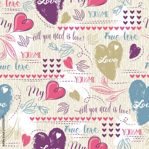 Materiał do szycia Kolor tła z tekstem serca i życzenia Walentynki czerwony i niebieski