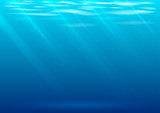 Underwater background in vector graphics. Blue waves and transparent rays