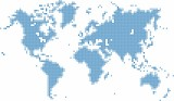 Blue dots world map on white background, vector illustration.