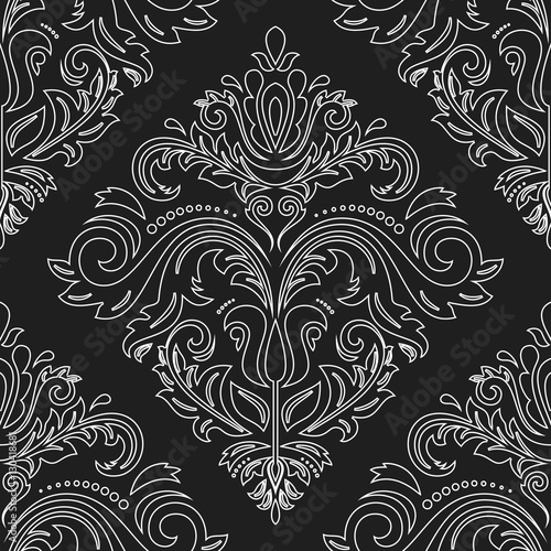 Damask vector classic dark pattern. Seamless abstract background with repeating elements. Orient background - 130418681