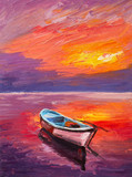 Fototapety Oil Painting, boat on the sea, art impressionism, colorful sunset