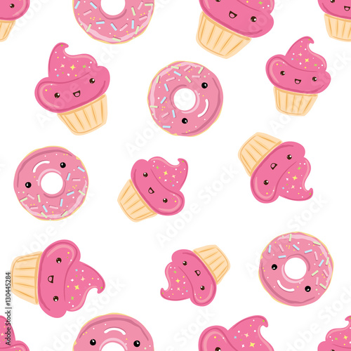 Cotton fabric Seamless pattern with sweets - donuts, cupcakes isolated on white background.