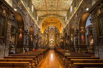 Interior of San Francisco Church in old town of Quito, Ecuador