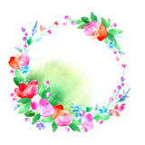 Floral wreath.Garland of a poppy flower,bell,berry and herb .Watercolor hand drawn illustration.White background.It can be used for greeting cards, posters, wedding cards.