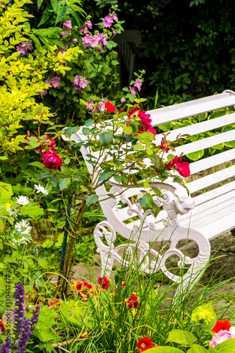 Papiers peints Vert chaux Beautiful, romantic, home garden with variety of blooming flowers, summertime