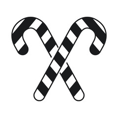 black and white candy stick crossed new year celebration vector illustration eps 10