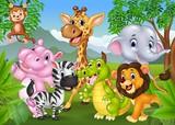 Fototapety Cartoon wild animal in the jungle