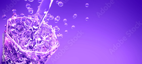 Purple background with a splash of soda in a glass - 130481812