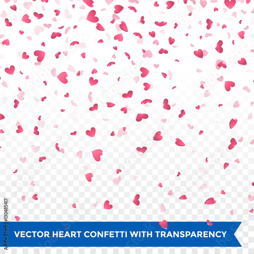 Valentine Day pink hearts petals falling vector background