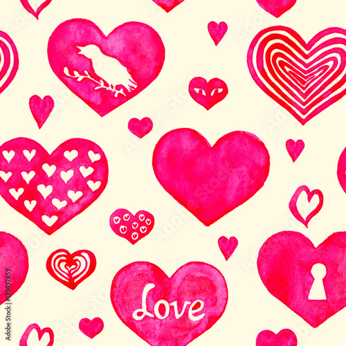 Cotton fabric Hearts seamless pattern, hand painted watercolor illustration