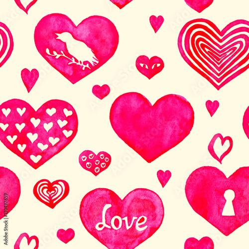 Materiał do szycia Wzór serca, ręcznie malowane akwarela, ilustracja