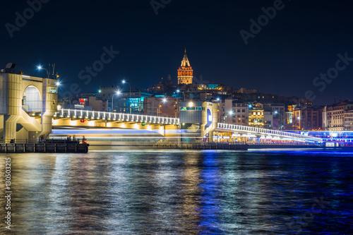 Poster galata bridge at midnight, istanbul
