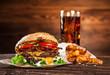 Detaily fotografie Close-up of home made burgers