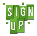 Sign Up Green Stripes Square