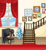 Girl playing piano in the house