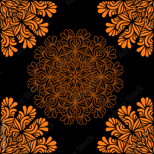 Materiał do szycia Abstrac seamless pattern with lacy mandala shapes