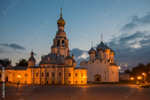 Poster Kremlin square in night with Alexander Nevsky Church, Belfry Sophia Cathedral, H