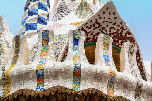 Póster Détail de la maison de Gaudi, Parc Güell, Barcelone, Catalogne, Espagne