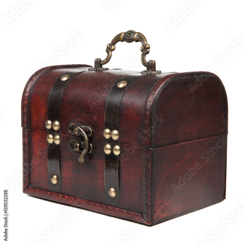 Old chest isolated on white Poster