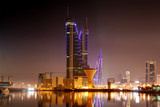 The Bahrain Financial Harbour (BFH) and World Trade center (WTC) at  night - 130538007