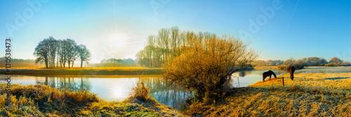 Tuinposter Blauw Landschaft im Herbst; zwei Pferde auf einer Weide am Fluss