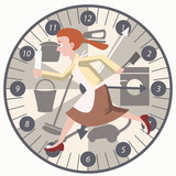 housewife running with kitchen tools on clock background