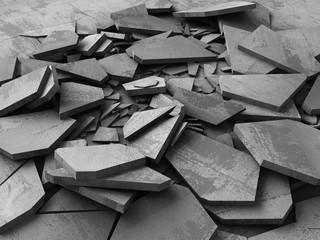 Concrete demolition cracked dark surface