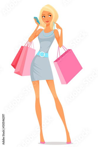 young woman using her phone while shopping