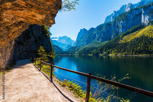 Tranquil summer scene on the Vorderer Gosausee lake in the Austrian Alps. Austria, Europe.