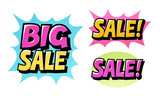 Fototapety Big Sale set icons. Comic text pop art style vector