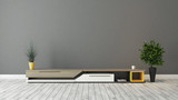 Fototapety modern tv stand with grey brown wall design
