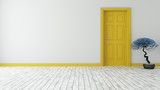 dark yellow door with wall