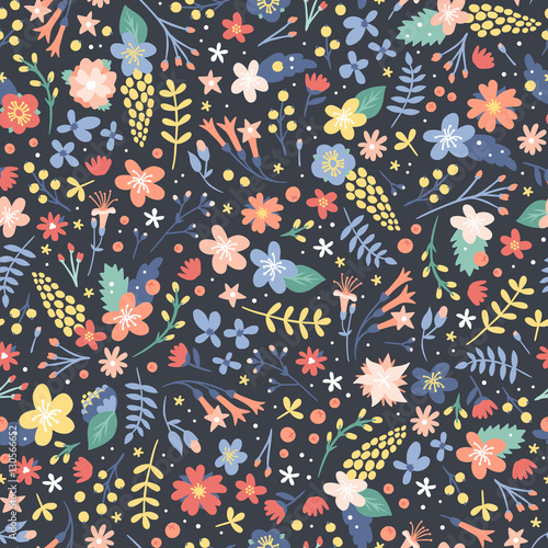 Cotton fabric Hand drawn flower seamless pattern vector.