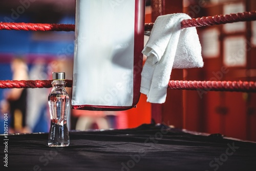 Póster Water bottle and a towel in boxing ring