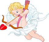 Cupid with Bow and Arrow Aiming at Someone