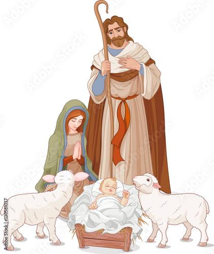 Deurstickers Sprookjeswereld Nativity scene