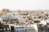 Miniature tilt shift lens effect of architecture of Paris, France