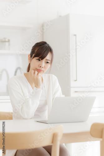 Poster 悩む・パソコンを使う女性