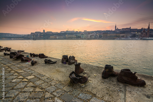 sundown at shoes memorial in budapest, hungary Poster