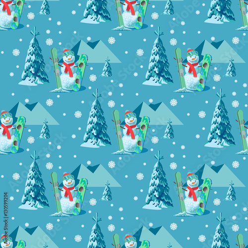 Materiał do szycia Endless pattern Christmas theme. Vector seamless illustration of a snowman, ski snowboard outfit with snow covered trees, mountains in the blue background.