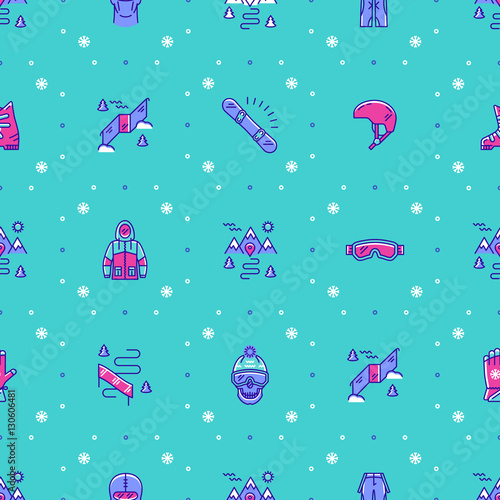 Fotobehang Turkoois Snowboarding, snowboard or ski ornament sportswear. Winter sport seamless pattern, holiday background. Trendy thin line icons snowboarder, clothes, snowboard, mask, winter landscape. Vector