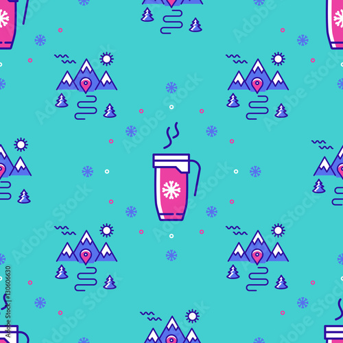 Materiał do szycia Winter sport seamless pattern. Winter landscape repeat background. Trendy thin line icons cup of coffee, tea, hot drinks, mountains, trees, snowflakes, snow. Modern hipster minimal design. Vector
