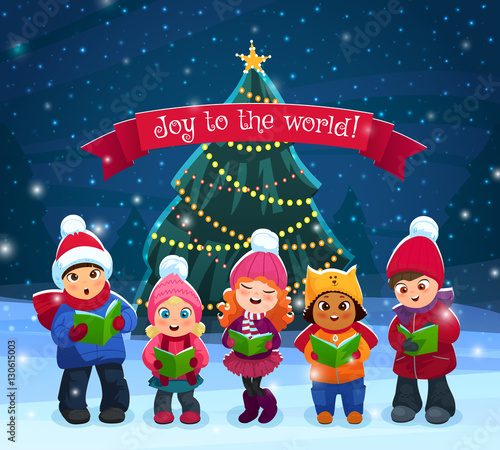 Fototapeta Caroling kids composition