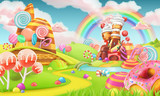 Fototapety Sweet candy land. Cartoon game background. 3d vector illustration