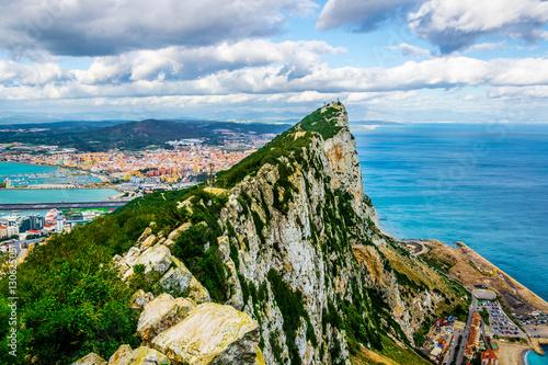 Foto op Canvas Caraïben Aerial view of the upper rock on gibraltar.