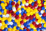 colorful industrial plastic pellets